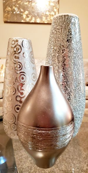 Silver decorative vases / Home accent Decor for Sale in Round Rock, TX