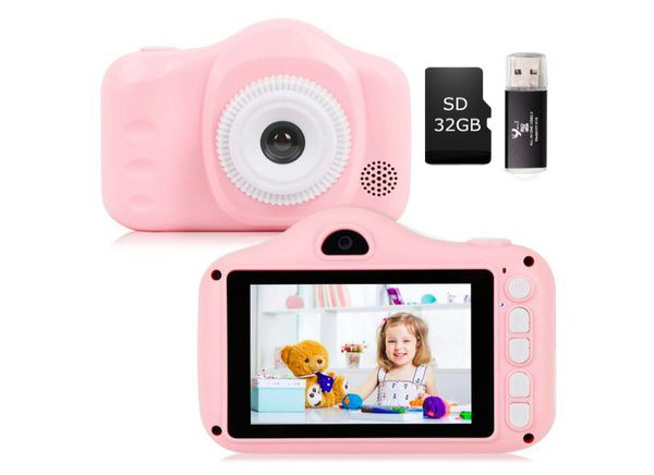 Kids Camera, Seanme 3.5 Inch Digital Camera with Dual Lens HD Child Video Camcorder Rechargeable Children Selfie Camera for Christmas New Year Gift