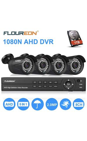 FLOUREON House Security Camera System 1080N DVR + 4 Pack 2.0MP CMOS Lens CCTV Security Camera 3000TVL Night Vision Remote Access Motion Detection for Sale in Ewa Beach, HI