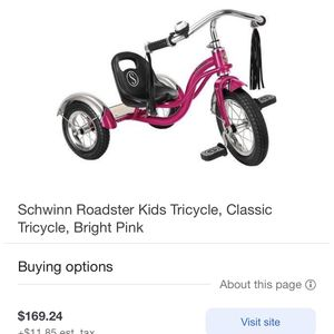 Schwinn Roadster Kids Tricycle, Classic Tricycle, Bright Pink for Sale in Indianapolis, IN