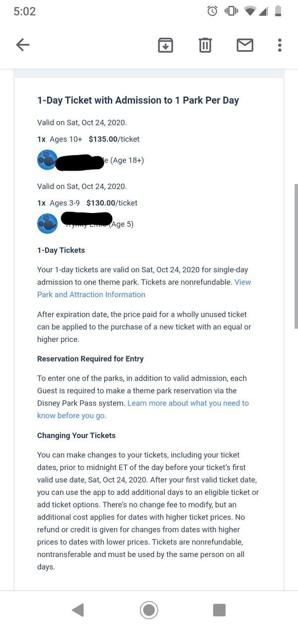 Disney theme park tickets