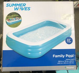 Summer Waves TranSummer Waves Family Pool Inflatable 120 x 72 x 22 inches NEW for Sale in Riverside, CA