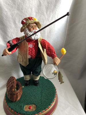 Fisherman Singing Santa Claus lake Trout fishing on summer vacation for Sale in Westville, NJ
