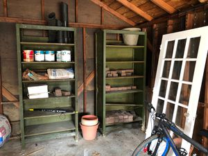 Shelves and door. Free pick up. Must take bricks too and everything on the shelves. for Sale in Detroit, MI