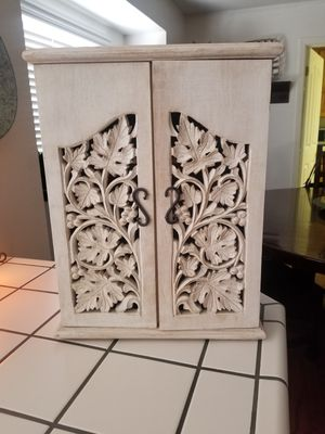 Cute white washed cabinet with carved leaves for Sale in Clovis, CA