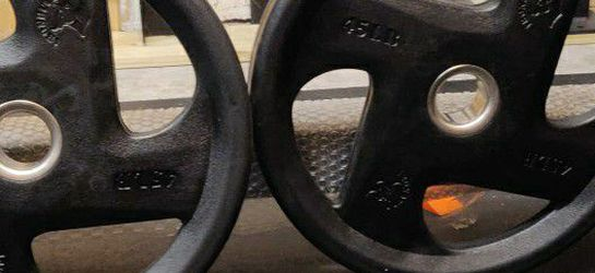 Rubber Bumper Weight Plates 2x45s Olympic Size for Sale in Miami,  FL
