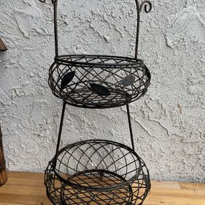 Fruit Basket, Decorative 2 Tier Flower Pot Holder, Vintage & Rustic Style Indoor Outdoor Garden for Sale in Huntington Beach, CA
