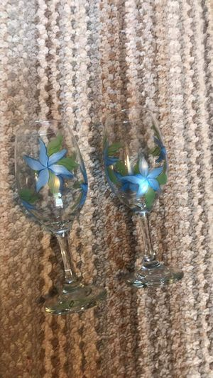 Hand painted wine glasses for Sale in Devils Elbow, MO