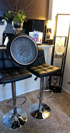 2 leather Bar stools chairs, a clock and a corner lamp. for Sale in Wilsonville, OR