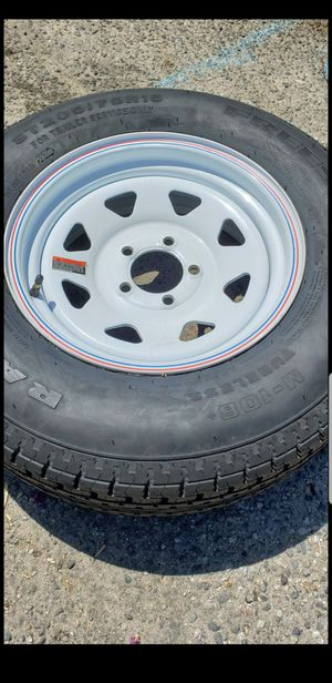 4 New 205-75-15 Trailer Load D 8 ply Tires on 5 lug 5x4.5 white steel wheels/rims 205/75/15 R15 inch tire for Sale in Moreno Valley, CA
