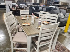 Ashley Furniture White/Light Brown 7 Piece Dining Table Set for Sale in Santa Ana, CA