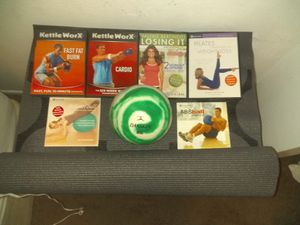 Dvd workorkout yoga mat and abs medicine ball for Sale in Phoenix, AZ