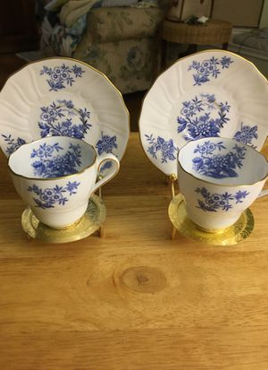 2 Spode Copeland blue and white Demitasse cups with saucers gold trim with gold metal stands for Sale in Dallas, TX