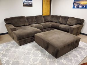 Brown Sectional Couch With Chaise and Ottoman for Sale in Denver, CO