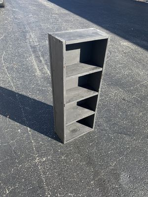 Black painted Solid Wooden small utility shelf! Great for organizing the garage, very sturdy. Dimensions: 11x6x30in for Sale in West Palm Beach, FL