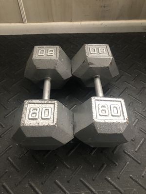 Pair of 80 pound dumbbells for Sale in Linwood, NC