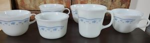 Pyrex Morning Blue coffee/tea set and Correlle saucers for Sale in The Colony, TX