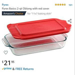 Pyrex, Clear Basics 2 Quart Glass Oblong Bakeware with lid 11.1 in. x 7.1 in. x 2 in for Sale in Diamond Bar, CA