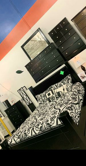 $39 Down Payment Best DEAL 🍾 SPECIAL] Shay Black Storage Poster Bedroom Set SAME DAY DELIVERY for Sale in Jessup, MD