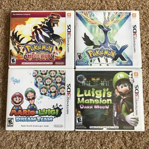 3DS Games, Pokemon X, Pokemon Omega Ruby, Mario & Luigi Dream Team, & Luigi's Mansion 2 (Great Condition) for Sale in Boise, ID