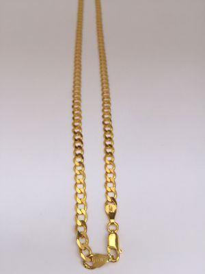 24 in 925 Italian Sterling Silver curb chain plated with 24K gold for Sale in West Covina, CA