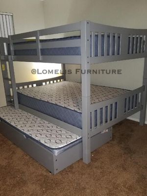 FULL/FULL/TWIN BUNK BEDS W MATTRESSES INCLUDED. for Sale in Corona, CA