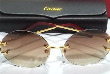Cartier Gold Wire Big C Frame Brown Circle Lens Glasses Sunglasses for Sale in East Hartford,  CT