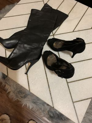 Lady's guess leather boots n suede heels both size 6 for Sale in Torrance, CA