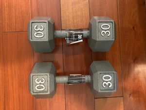 Brand New Weider cast iron 30 lb dumbbells (pair) for Sale in Los Angeles, CA