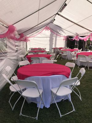 Canopy,plastic folding chairs and round tables!! for Sale in Alhambra, CA