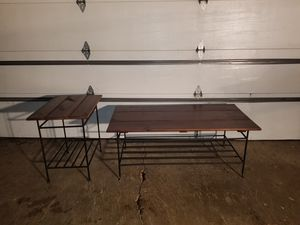 Coffee Table & End Table (pre-owned/used) Real Wood and Cast Iron in Nice Condition ~ Not Cheap Wal-Mart Garbage~Pick up Wauconda Today for Sale in Wauconda, IL