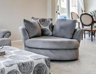 Grey Swivel Round Couch Chair for Sale in Wauconda,  IL