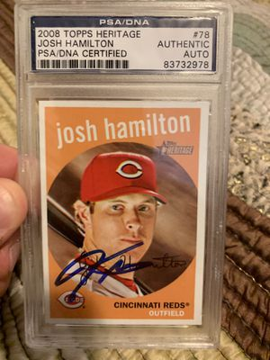 Josh Hamilton Autographed 2008 Card for Sale in Pflugerville, TX