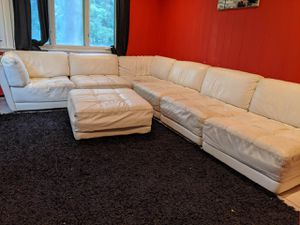 White leather couch for Sale in Kings Point, NY