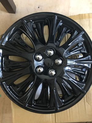 """4 piece set 15"""" ABS (ice black) hub caps wheel covers/cover cap for Sale in Detroit, MI"""