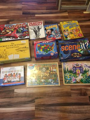 6 games 3 puzzles 1 drawing book for Sale in Island Lake, IL