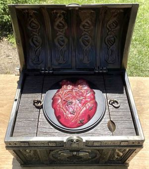 Halloween Party Decor Disney Pirates Of The Caribbean Treasure Chest CD PLAYER Glowing Heart Of Davy Jones Treasure for Sale in Chapel Hill, NC