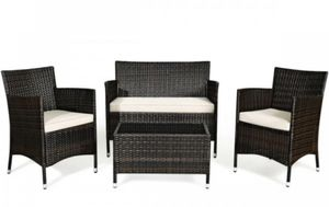 4 Pcs Patio Rattan Conversation Set Outdoor Wicker Furniture Set for Sale in Moreno Valley, CA