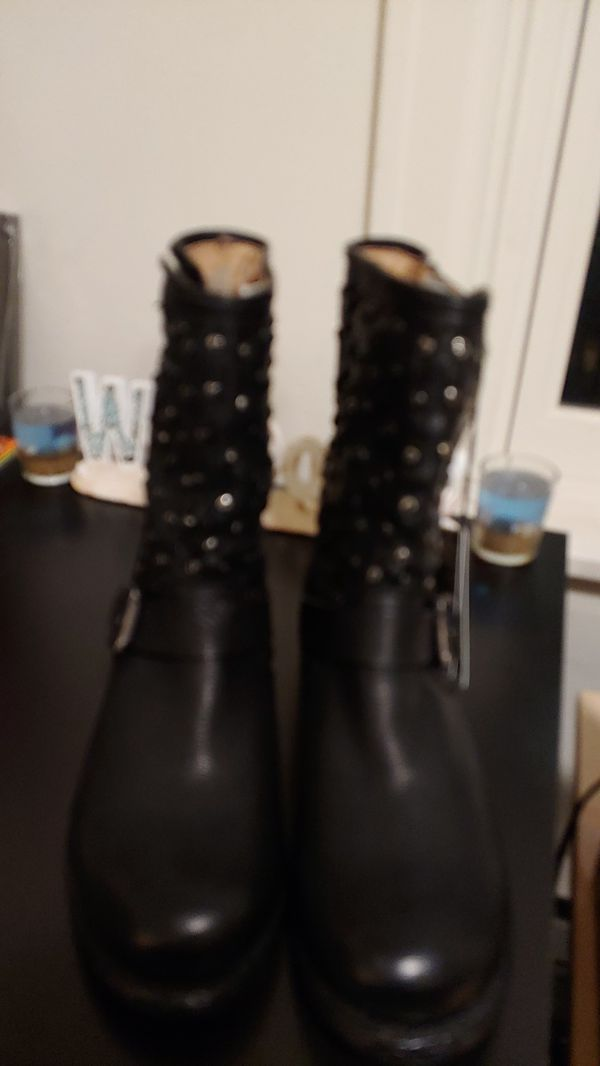 New Frye studded biker boots womens 9