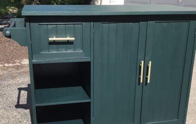 Emerald Green Bar Cart / Kitchen Island for Sale in Philadelphia,  PA