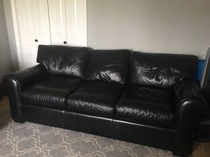 Black Genuine leather sofa for Sale in Cupertino, CA