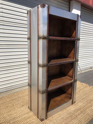 Aviator aluminum book shelf with 4 tiers leather & rivets for Sale in San Diego, CA