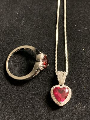 Sterling Silver Pendant Ruby CZ Necklace and Garnet CZ Ring for Sale in Quincy, IL