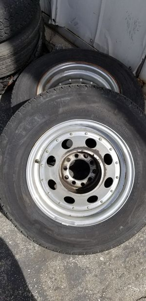 Universal trailer tires 3 tires are good one as a blow out the worst rim is the 1 that's all rusted around the edge 100 bucks or best offer for Sale in Monrovia, CA