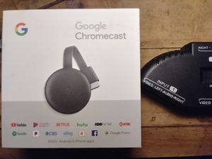 2018 GOOGLE CHROMECAST AND 3 WAY A/V SPLIT & RF modulator converter box for Sale in Dallas, TX