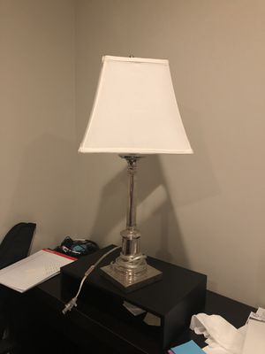 Silver lamp with white shade for Sale in Alexandria, VA