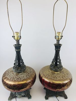 Pair Vintage glass red and gold lamps for Sale in Cleveland, OH