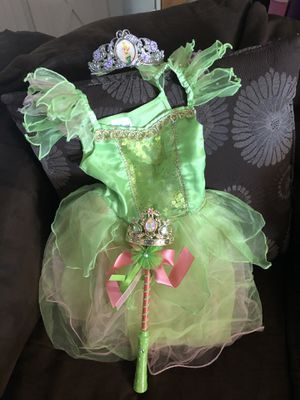 Size 3-T Tinkerbell dress crown and wand Halloween for Sale in El Paso, TX