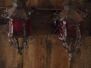 Set of vintage metal mission style lantern light hanging red glass for Sale in Lafayette, CO