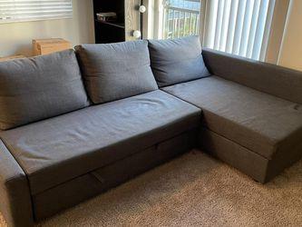 """IKEA - FRIHETEN Sleeper sectional, 3 seat w/storage, grey, Length: 90 1/2"""" for Sale in Seattle,  WA"""